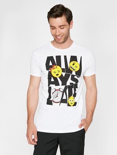 Koton Emoji Lisanslı Baskılı T-Shirt Beyaz